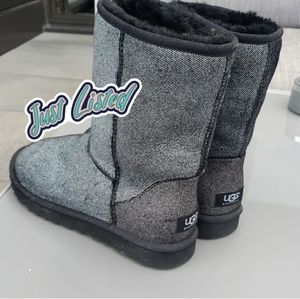 🦓just in!🦓rare grey fabric uggs boots